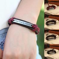 Free shipping wholesale lot 12 pcs Genuine Leather Bracelet hot sale fashion time theme cool men leather bracelets P0052