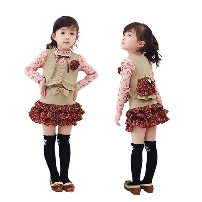 Vestido de festa de natal Set Baby Girl blusa Vest Mini saias miúdo meninas conjuntos de vestuário para o próximo ano novo crianças Outwear TZC095(China (Mainland))