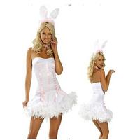Cute Bunny Rabbit Dress Women Cosplay Performance Costumes Sexy Role Play Costumes White fantasias femininas AN174