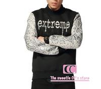 Snakeskin Pattern Sleeves Patchwork Men Sweatshirts / Hip Hop Python Extreme Letters Print Black Men Pullovers M-XL