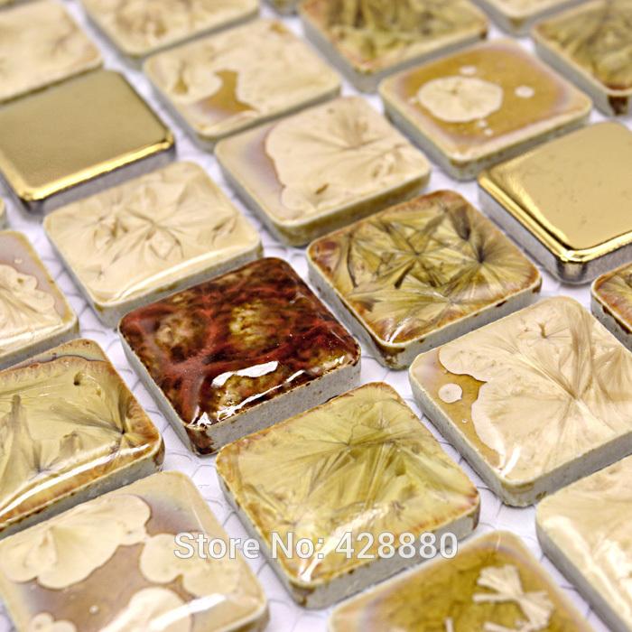 Porcelain mosaic tile sheets kitchen backsplash tiles glazed ceramic floor tiles GM015 shower tile bathroom mirror wall stickers(China (Mainland))