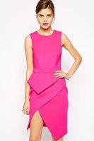 Beauty online  2014 New Sexy Fashion Women Pink Premium Asymmetric Peplum Dress LC6631