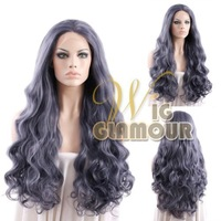 """Long Curly Wavy 14""""-28"""" Purplish Grey Color Lace Front Wig Heat Resistant Synthetic Wig #Color & Style# As the Picture Show"""