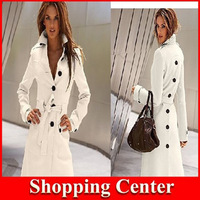 Freeshipping New 2014 western Collect waist women coat white red black yellow single breasted turn-down collar Trench coat