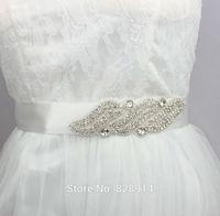 Korea Style Rhinestones Applique Ribbon Bridal Sash White Wedding Dress Belt Very Shinny and Beauty