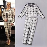 High Quality New Fashion Clothing Set Pant Autumn Woman Plaid Print Small Coat Tops+Cotton Print Pants Skinny (1Set) 2 Piece