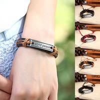 2014 New Handmade Braided Genuine Leather Wrap Inspirational Charm bracelets & bangles for Women & Men Jewelry Wholesale P0055