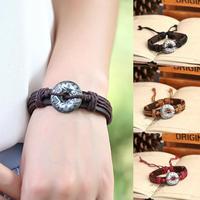 Wholesale lot 12 pcs New 2014 Vintage Genuine Leather Round Charm bracelets & bangles brand for Women & Men Jewelry