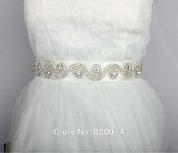 Hot Selling Luxure Rhinestones Applique Ribbon Bridal Sash White Wedding Dress Belt Very Shinny and Beauty