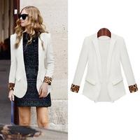 Spring New Women Slim Leopard Cuffs Chiffon Blazers,Ladies Thin Decorative Pockets Formal Suits Coat Outwear Jackets feminino