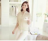 Ladies Elegant Trendy Garment  Spring Autumn Blouse V-neck Long-sleeve Dot Bird Printed Chiffon Slim Casual Shirts Cloth005