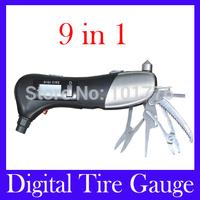 Free Shipping digital tire pressure gauge 9 in 1 LED flashlight LCD backlight scissors hammer Phillips screwdriver VT-902,MOQ=1