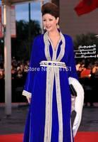 Dubai Golden sequins Beaded Royal blue Long Sleeves Kaftans Evening Dresses New Fashion Caftan