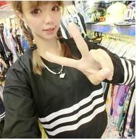 New 2014 Autumn Women's Black Striped Loose T shirt Full Sleeve O-neck Short Design Sweatshirt Pullovers Tops Free Shipping 205