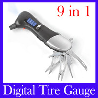 Free Shipping 9 in 1 Multifunction Digital tire Gauge Tester Flashlight Auto Emergency DiagnosticTool LCD Display VT902,5pcs/lot