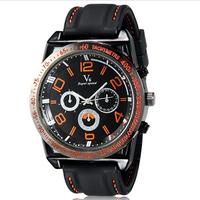 V6 0213 Super Speed Men's quartz watch Large Digital Scale casual watch 3-Dial Analog Wrist Watch -5