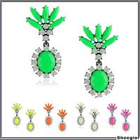 Candy color Crystal Flower Long Dangle earrings for women Delicate rhinestone Bohemian Gothic earrings Fashion Jewelry