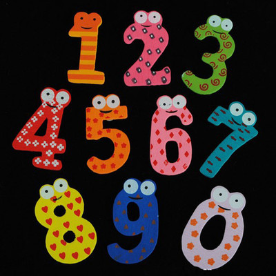 1Set Of 10 Numbers Cartoon Educational Toy Wooden Fridge Magnet For Baby Kid Christmas Gift Free Shipping(China (Mainland))
