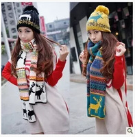 2014 Winter ladies knitting wool hat scarf two piece set Korean winter thickened suit new year birthday gift female