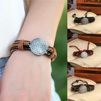 New 2014 Vintage rope weaving Genuine Leather English target Metal Charm bracelets & bangles brand for unisex P0115