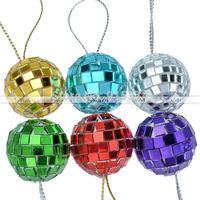 27/39mm 6Pcs/Lot Mixed Color Disco Mirrored Glass Christmas Ornaments Xmas Decor Free shipping