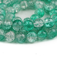 240 pcs 10mm Green & Clear Crackle Round Glass Beads Free Shipping