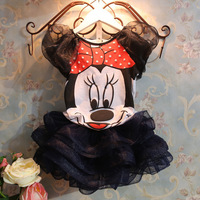 New 2014 Summer children Girl's dress Suit Minnie Mouse kids Clothing sets princess girls clothes dress Party Christmas Costume