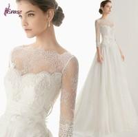 Hot Sale Floor-Length Three-Quarter Sleeve Hand-Made Flower Sash Wedding Dress Bridal Gown NSD-0061