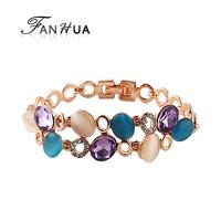 New Famous Brand Jewelry Colorful Imitation Gemstone Luxury Bracelets Female Rose Gold Color Alloy Brazaletes Pulseras