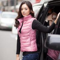 Warm Winter Jacket Women Coat Coats Sleeveless Stand Collars Slim White Duck Down Jacket Coat Casual Vest Parkas