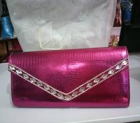 2014 New fashion rhinestone PU leather woman clutches women clutch bag ladies handbags free shipping