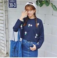 New 2014 Autumn Women's Sun Flower Printed T shirt Full Sleeve O-neck Cotton Loose Short Sweatshirt Tops Free Shipping 303