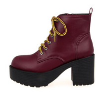 Lace-up women fashion autumn round toe chunky ankle boots black PU leather red martin boots size 40 free shipping