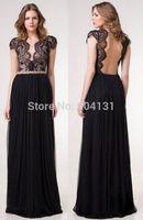 vestido de festa Fashion 2014 new Celebrity dress V-neck backless the floor Length sexy dress Short sleeve Black Party dresses