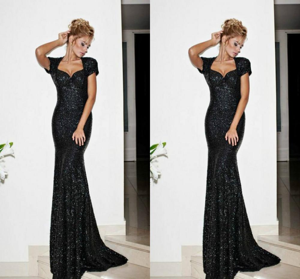 Mria 9998 Shining Sweetheart Short Sleeves Mermaid Black Sequins Fabric Prom Dresses Fast Shipping(China (Mainland))