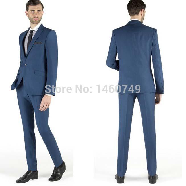 Blue Groom Tuxedos Groomsmen 2015 Morning Style Man Men Wedding Suits Prom Formal Bridegroom