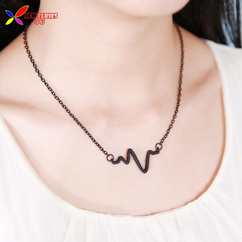 2014 new fashion men & women's gold silver black alloy Punk Simple Electrocardiogram EKG short false collar pendant & necklace(China (Mainland))