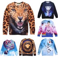 2014 NEW Fashion Women/mens hoodies sweatshirts cartoon/animal/Skull 3d printed Pullovers sweaters tiger Wolf hoody clothing