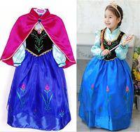 2014 New Frozen Dress Kids Party Dress Anna Elsa Dress With Red Cloak Eurpean&American Fashion Frozen Dress Children's Clothes