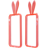 Lovely Rabbit Ear Style Protective TPU Bumper Frame with Strap for iPhone 5/5S Free Shipping