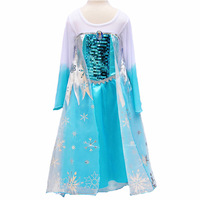 Retail 2014 Hot Baby Girls Frozen Anna Elsa Coronation Party Princess Dresses Christmas Costume,Autumn Winter Kids Clothing Kr04