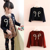 Kids Girls Wool Coat Bow-knot Button Front Long Sleeve Jacket Outwear