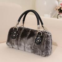 2014 new woman winter handbags faux rabbit fur high quality ladies soft feel plush bag female grey wool tote bag sac a main