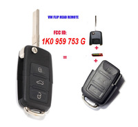 1K0 959 753 G 1K0959753G Folding Flip Key Keyless Entry Remote Transmitter For VW VOLKSWAGEN SEAT 3 Button 434MHZ With ID48 Chip