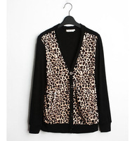 2014 Men's Fashionable Cardigans V-Neck Sweater & Knitwear for Male With Leopard Printed Wholesale MWK060