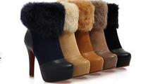 2014 new winter fashion women boots warm plush snow boots platforms mid-calf bow winter boots thicken beige,coffe,brown,black607