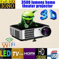 New 3500lumens,1280*800 Home theater Multimedia LED Projector,USB,TV, Full HD,3D,1080P,WIFI