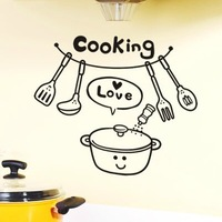 Free shipping 40x28cm cooking tools  DIY Removable Art Vinyl Quote Wall Sticker Home decoration Christmas