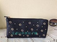 Sale! Korea Fashion Women's Leather Rivet Long Style Wallet 12 Card Bits Two Fold Purse Free Shipping