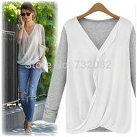 Women Fashion chiffon T-shirt Mosaic knitted clothes ladies shirt bottoming tops E6435-gray